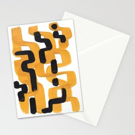 Mid Century Abstract Black & Yellow Fun Pattern 60's Ripple Mustard Color Trippy Maze Stationery Cards