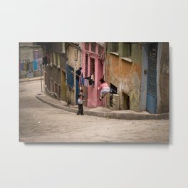 "Travel Photography ""street with playing children"" in Istanbul, Turkey.  Pink and pastel. Photo print Metal Print"