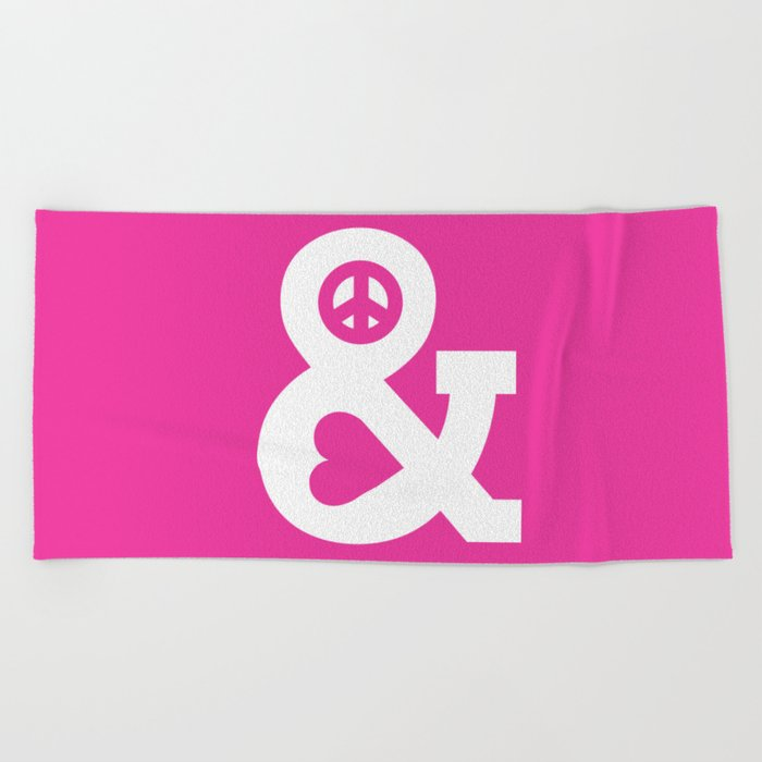 Peace and Love (pink edition) Beach Towel