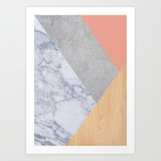 Blush Marble Wood Art Print