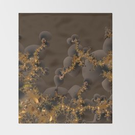 Organic Explosion of Chocolates - Fractal Golden Lava Throw Blanket