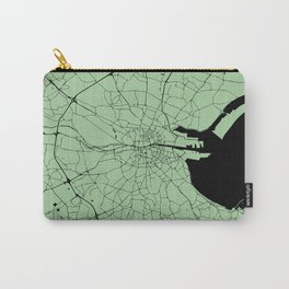 Dublin Ireland Green on Black Street Map Carry-All Pouch