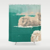 portugal Shower Curtains featuring Portugal-Algarve, Cross Stitch by Mr & Mrs Quirynen