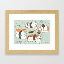 Kawaii Neko Sushi Framed Art Print