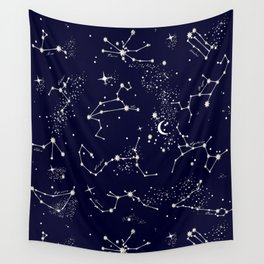 Zodiac Constellations in Night Navy Wall Tapestry