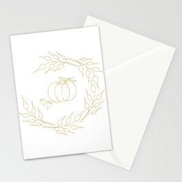 Gold Pumpkin Wreath Stationery Cards