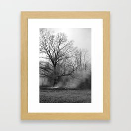 Ancient Wise Oak Trees And The Mystic Smoke Framed Art Print