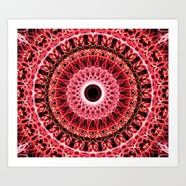 Mandala in red and white colors Art Print
