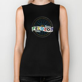 Peloton Wheel Italian Retro Vintage Bicycling Distressed Biker Tank