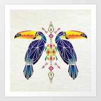 toucan Art Prints featuring toucan by Manoou
