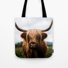 Scottish Highland Cattle in Scotland Portrait II Tote Bag