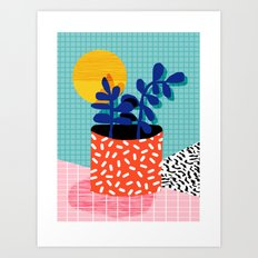 No Way - wacka potted house plant indoor cute hipster neon 1980s style retro throwback minimal pop  Art Print