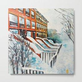 Brooklyn New York In Snow Storm Metal Print