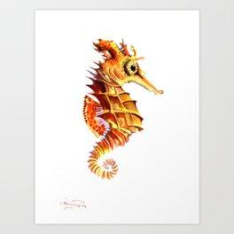 Seahorse, orange yellow cute animals illustration children room nursery sea world art Art Print