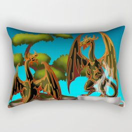 Hot Coffee with Bonsai and Fire Dragons Rectangular Pillow