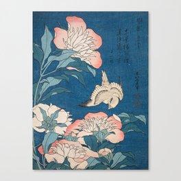 Katsushika Hokusai - Peonies and Canary, 1834 Canvas Print