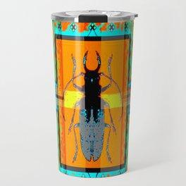 WESTERN TEAL TURQUOISE BEETLE ORANGE ART DESIGN Travel Mug