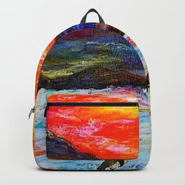 Beautiful Penguins With Sea Lion By The Blue Ocean Painting Backpack