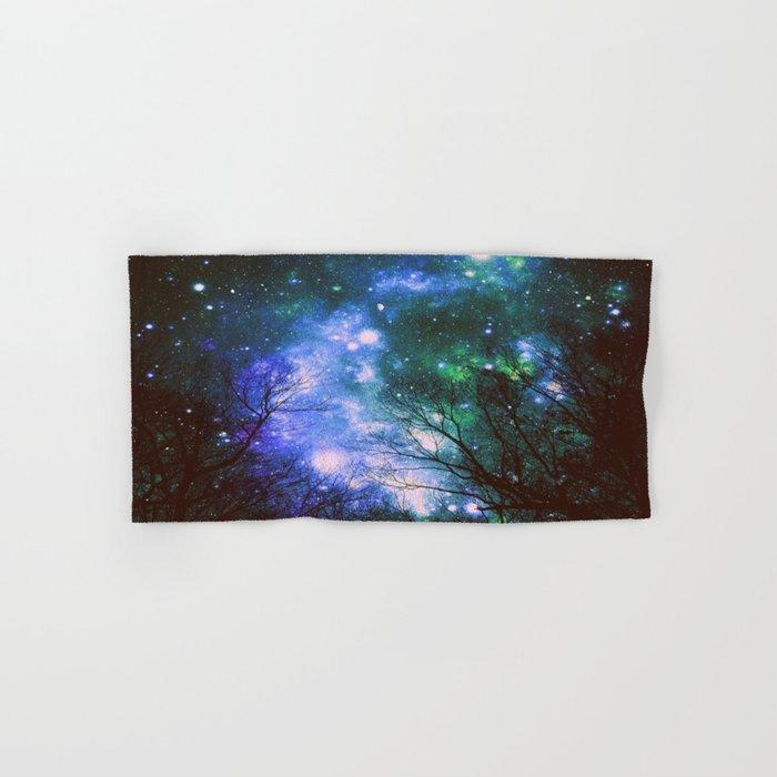 Black Trees Violet Green Space Hand & Bath Towel