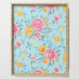 Chalk Pastel Pink & Orange Roses on Sky Blue Serving Tray