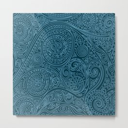 Doodle spiral sea green Metal Print