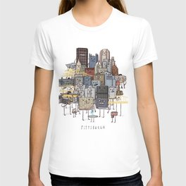Pittsburgh Skyline group picture- art print T-shirt