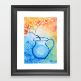 Cherry flowers in the blue jug Framed Art Print