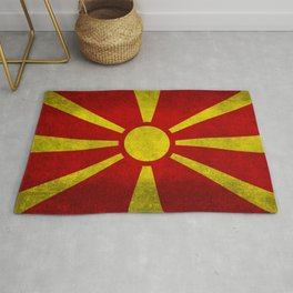 "Flag of Macedonia in ""Super Grunge"" Rug"