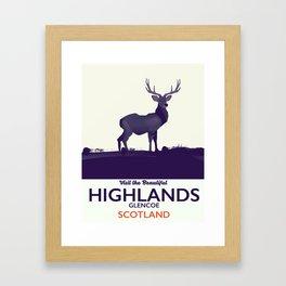 Scottish Highlands, Glencoe travel poster Framed Art Print