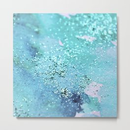 Blue Turquoise Glitter Watercolor Art Original Painting Metal Print