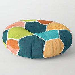 Colorful Terra Cotta - hexagon tile pattern Floor Pillow