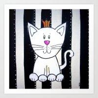 BW WHITE KING cat Art Print
