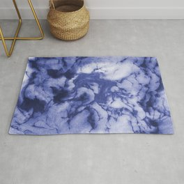 Asahi - spilled ink indigo blue water waves ocean topography map maps painting marble swirl blue Rug
