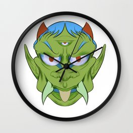 The happy red horn green demon Wall Clock