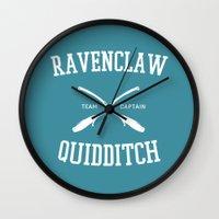 ravenclaw Wall Clocks featuring Hogwarts Quidditch Team: Ravenclaw by IA Apparel