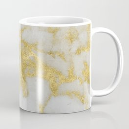 Marble - Yellow Gold Marble Foil on White Pattern Coffee Mug