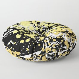 Sukie - abstract gold black and white foil glitter shiny sparkle hipster painting free spirit cosmic Floor Pillow