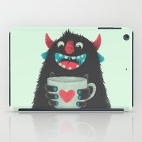 coffee iPad Cases featuring Demon with a cup of coffee by Lime