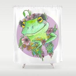 Froggy Flower Child Shower Curtain