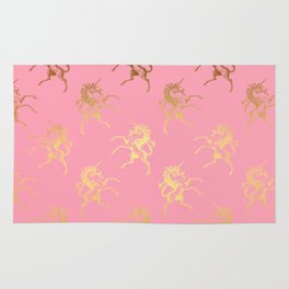 Gold elegant Unicorns on pink pattern Rug