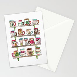 mugs on a shelf Stationery Cards
