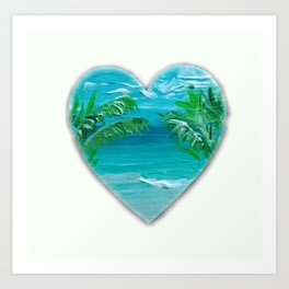 Beach heart Art Print