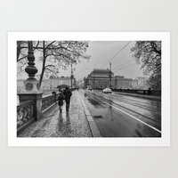 rainy bridge Art Print