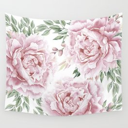 Girly Pastel Pink Roses Garden Wall Tapestry