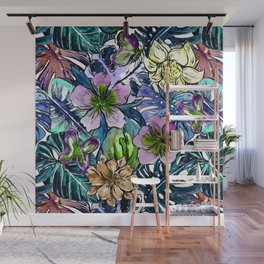 Tropical Blue Flower Hibiscus Garden Wall Mural