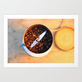 coffee beans in the coffee mill Art Print