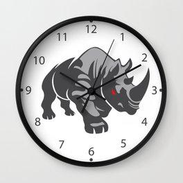 Angry rhino Wall Clock