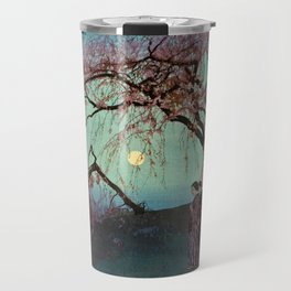 Hiroshi Yoshida - Kumoi Cherry Trees - Japanese Vintage Ukiyo-e Woodblock Painting Travel Mug