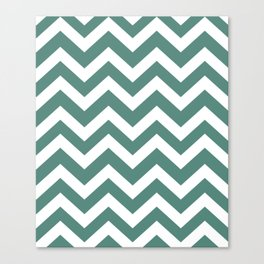 Wintergreen Dream - green color - Zigzag Chevron Pattern Canvas Print