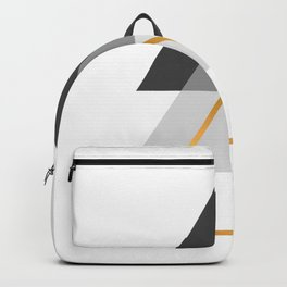Triangles art, Black, white and gold Backpack